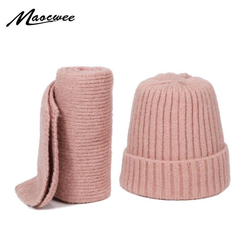 Winter Knitted Wool Beanie Hat Scarf Set For Children Outdoor Thick Hat Girls Boys Warm Solid Pink White Beanie Hat Scarves Sets