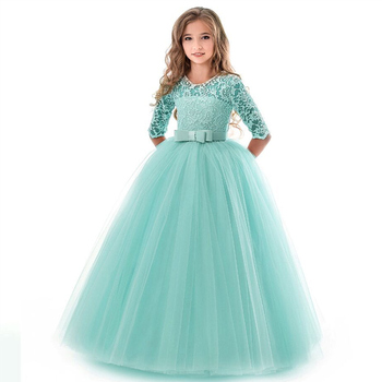 New Princess Lace Dress Kids Flower Embroidery Dress For Girls 14T Formal Ball Gown