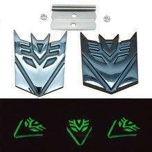 Metal Grill Self-luminous Transformers Decepticon Front Engine Grille Car Emblem Accessories