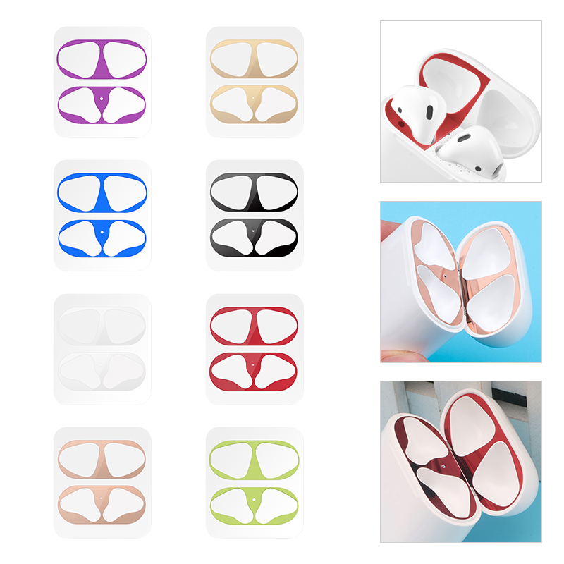 1 Set Ultra Thin Skin Protective Cover For Airpods Metal Film Sticker Iron Shavings Dust Guard For AirPods 1 2 Case Accessories