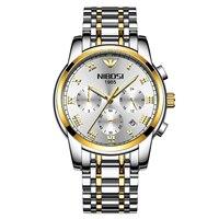 NIBOSI VIP 1 orologi da uomo di moda scheletro in acciaio inossidabile con orologio da uomo al quarzo sportivo di lusso di marca superiore nero Relogio Masculino