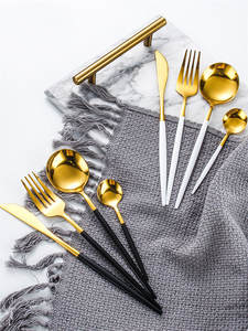 Knife Fork Tableware-Set Spoon Flatware Dishwasher-Safe Stainless-Steel Gold Luxury Gift-Box