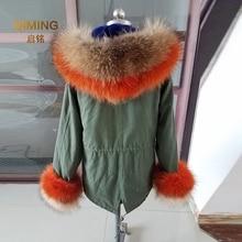 Настоящий меховой воротник манжеты костюм большой натуральный мех енота лисий мех зимняя мода