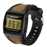 SANDA Schock Männer Sport Uhren Platz Zifferblatt Uhr Für Männer Luxus Marke Männlichen LED Digital Military Wasserdicht Handgelenk Uhren
