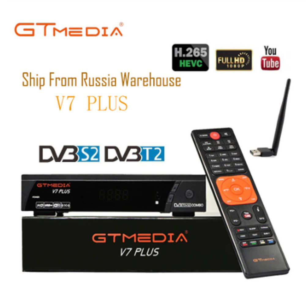 Hot DVB-S2 Gt Media V7 Plus Met Usb Wifi Fta Tv-ontvanger Gtmedia V7s Hd Power Door Freesat Ondersteuning Europa netwerk Delen