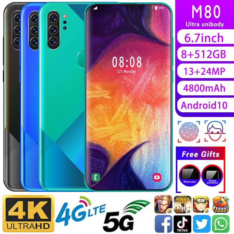 Mobile Phone M80 Phone MTK6799 Cell Phones 6.7inchHD+1440*3040 Cellphone 8GB+512GB Camera 13MP+24MP Unlocked Smartphone