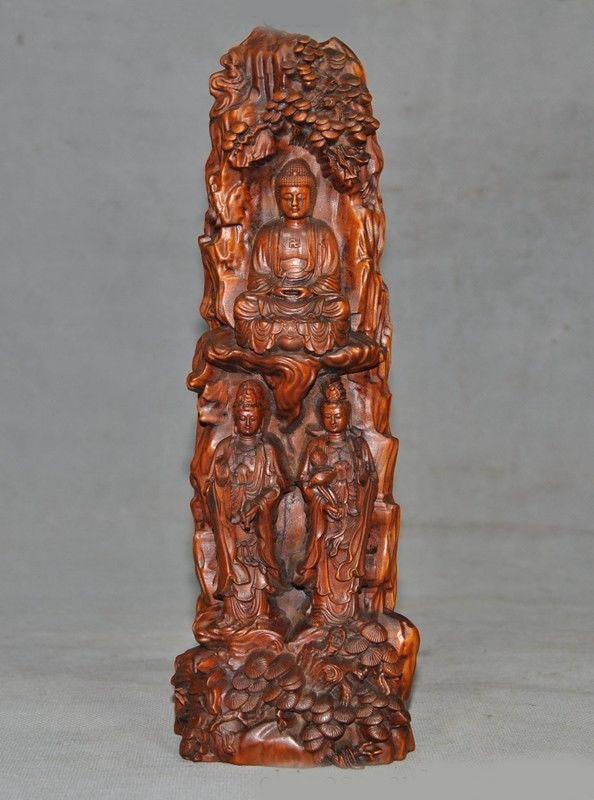 Christmas Tibet Boxwood Wood Carving Sakyamuni Shakyamuni GuanYin Kwan-yin 3 Buddha Statue New Year