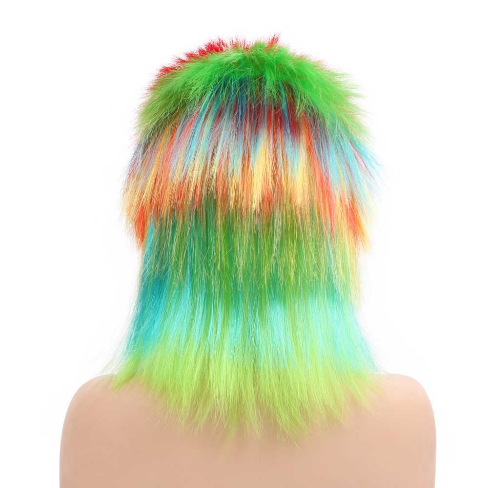 """Gratis Beauty 6 """"Synthetisch Regenboog Rooster Punk Rocking Dude Crazy Spiky Fancy Grappige Puffy Hanekam Mohawk Pruik voor Meisjes man"""