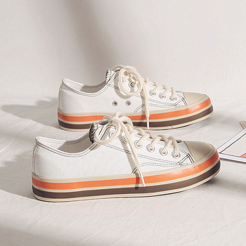 Women Shoes 2020 New Fashion Sneakers Canvas Casual Shoes Color Striped Lace Up Flats Female Fashion Style Breathable Vintage