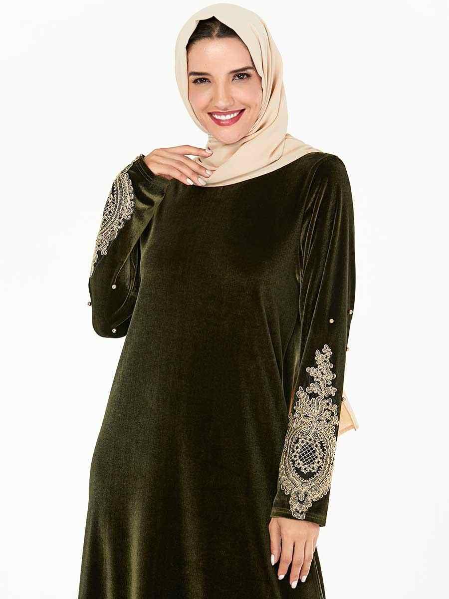 מוסלמי רקמת אפליקציות נשים חם קטיפה העבאיה קפטן ארוך מקסי שמלת קוקטייל גלימות סתיו חורף שמלת הרמדאן ערבי שמלה