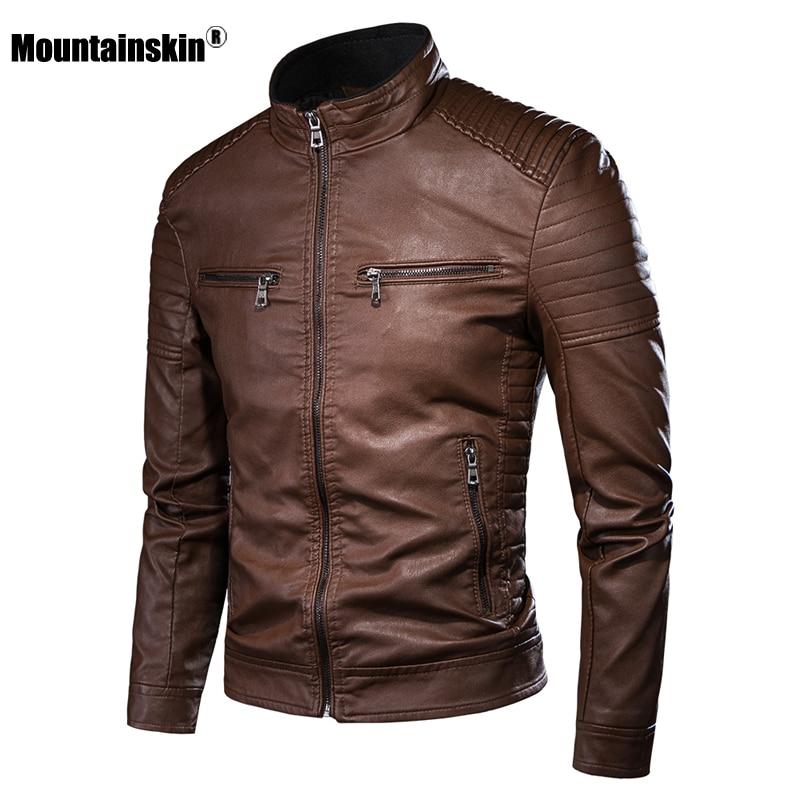 Mountainskin 2020 Men's Leather Jacket Motorcycle Casual PU Coats Men Zipper Solid Fashion Jackets Slim Fit PU Coat Male SA897