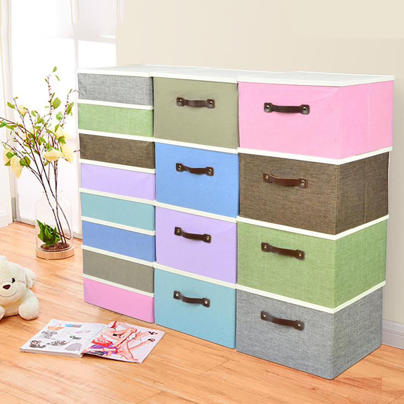 Storage-Box Container-Bins Cosmetics Sundries-Organizer Folding Cotton with Pp-Cover