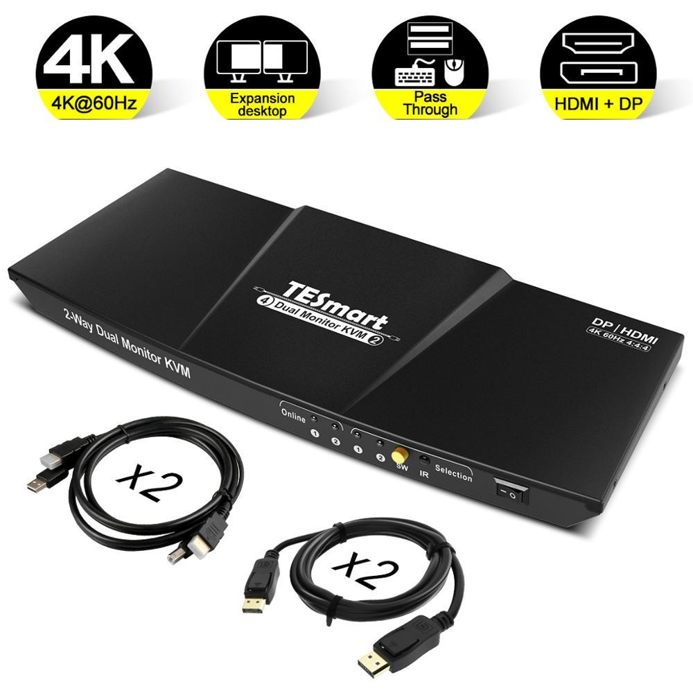 HDMI+DP 4x2 KVM Switch 2 Port Output (HDMI+DP) 4x2 Dual Monitor KVM Switch HDMI DP Switch Up To 4K@60Hz USB 2.0 KVM Pass Through