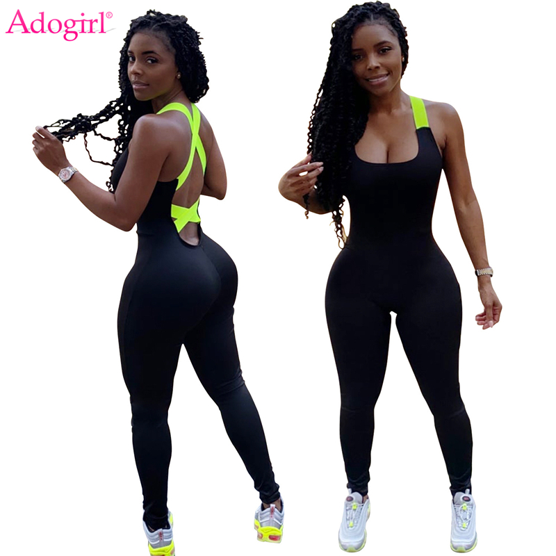 Adogirl 2020 New Women Fashion Casual Sporting Jumpsuit Crisscross Backless Bandage Romper Home Fitness Overalls Slim Clothes