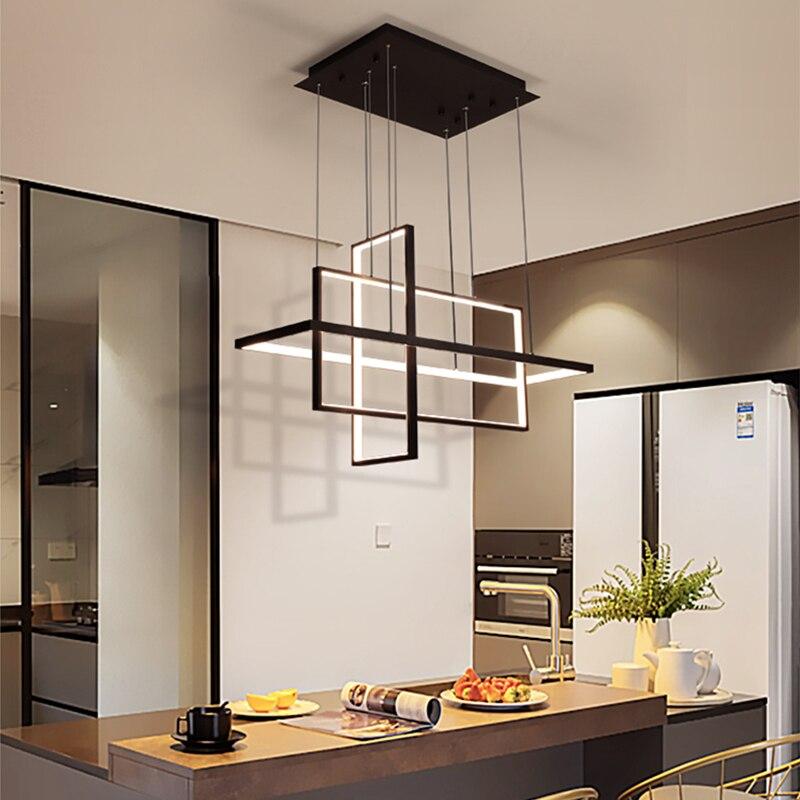 Lustre led moderne chaud pour salon salle à manger cuisine bar boutique blanc/noir/or fini suspendu lustre courrier gratuit