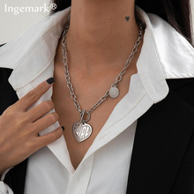Vintage Smooth Coin Necklace Women Girl Heart Pendant Stainless Steel Harajuku Female Gothic Streetwear Chain Necklace Jewelry