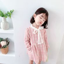 New autumn children clothing sweet CC style long-sleeved grid dress with lace bow tie for girls bow tie back grid pinafore dress