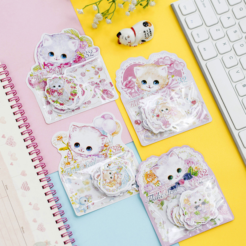 1sheet/lot Kawaii Flower Cat Bronzing Style DIY For Album Diary Animals Decoration Sticker For Students Gift Stationery