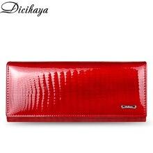 DICIHAYA portfel skórzany kobiety klasyczne Alligator Hasp długie portfele kobiet stojak w kształcie karty Clutch Bag moda skóry wołowej torebki damskie