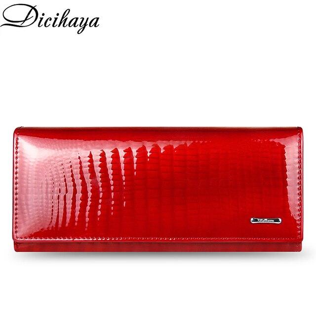 Кожаный кошелек DICIHAYA для женщин, классические длинные бумажники с крокодиловой застежкой, женский клатч с держателем для карт, модные дамские бумажники из воловьей кожи
