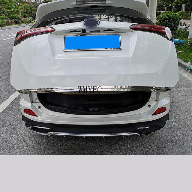 Bagageira porta traseira inferior capa de moldagem guarnição aço inoxidável porta traseira guarnição acessórios do carro para toyota rav4 2013 2014 2015 2018