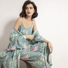 2021 Spring & Autumn Cartoon Sunflower Printed Women Sleepwear Light Blue Cotton Satin Pajamas Set Ladies Loose Thin Homewear