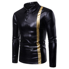 Mens long-sleeved POLO shirts, color-matched mens shirts for men