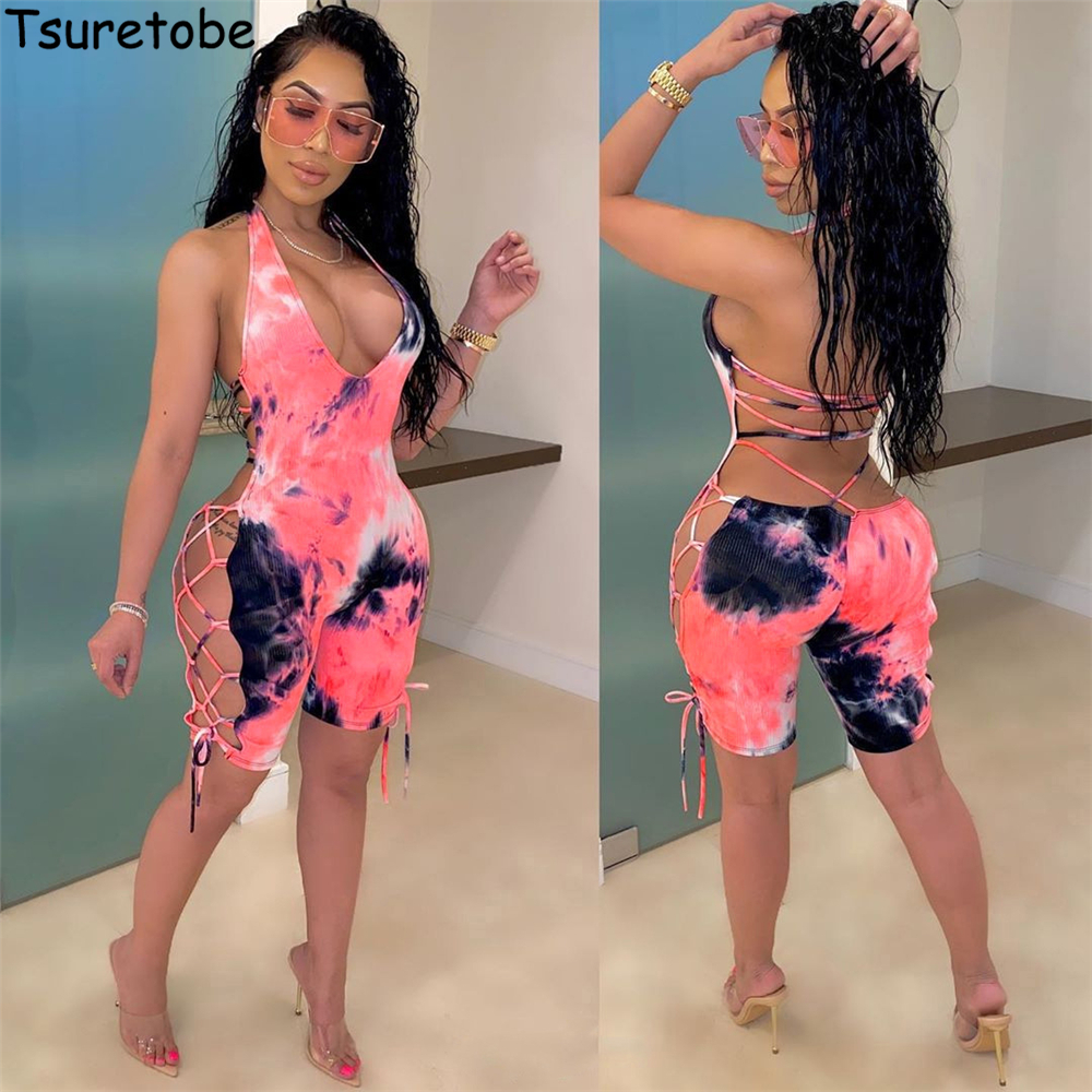 Tsuretobe Tie Dye Print Jumpsuit Women Sexy Bodysuit Backless Playsuit Bandage Rompers Summer One Piece Jumpsuit Club Outfits