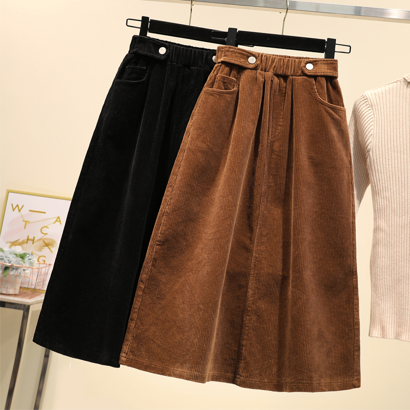 Corduroy  Skirts Womens  Autumn  Winter Plus Size   Pockets A-line  High Waist  Loose  Black Khaki Skirt