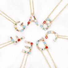 Разноцветная подвеска, Золотая подвеска, ожерелье с микро-цирконием, 26 ожерелья с буквой, пара, именное ожерелье, Рождественский подарок