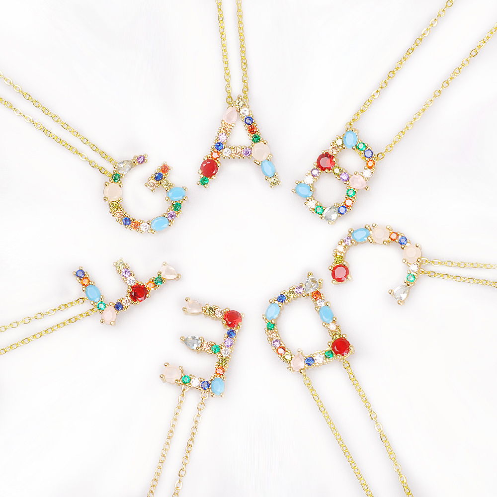 Оптовая Продажа Многоцветный модные украшения CZ золото 26 подвеска в виде Буквы Алфавита Ожерелье micro pave Циркон начальной ожерелья с буквой