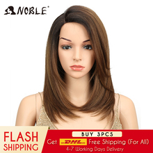 Noble Short BOB Wig For Women Synthetic Hair Side Part Lace 18 Heat Resistant High Temperature Fiber Glueless Ombre Straight Wig adiors side part slightly curled short bob synthetic wig