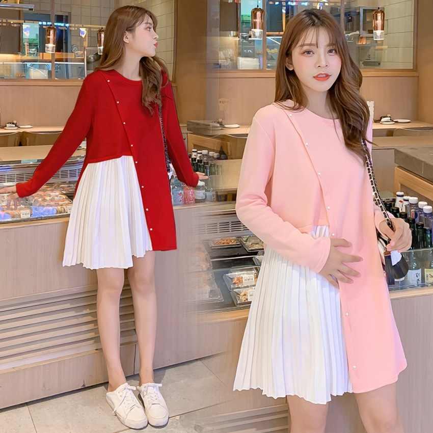 Herfst en winter moederschap jurk zoete parel gesp gebreide stiksels jurk nieuwe Koreaanse mode losse zwangerschap jurk