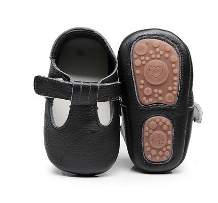 2020 Hard Rubber Sole T-bar Style Genuine Leather Baby Moccasins Shoes Baby Shoes Newborn First Walker Infant Shoes