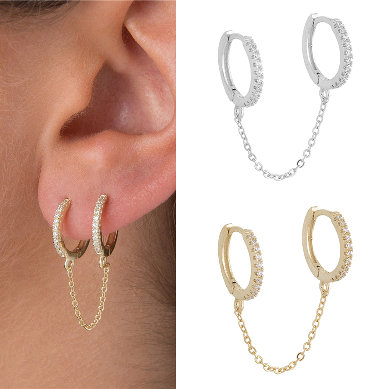 1 pcs Gothic Punk Handcuff chain Earrings real 925 Silver european stud Earrings link chain for Women/Girl A30(China)