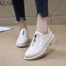 Shoes Woman Platform Slip-On Plus-Size Solid Oxfords Casual Zip Flats Ladies Fashion
