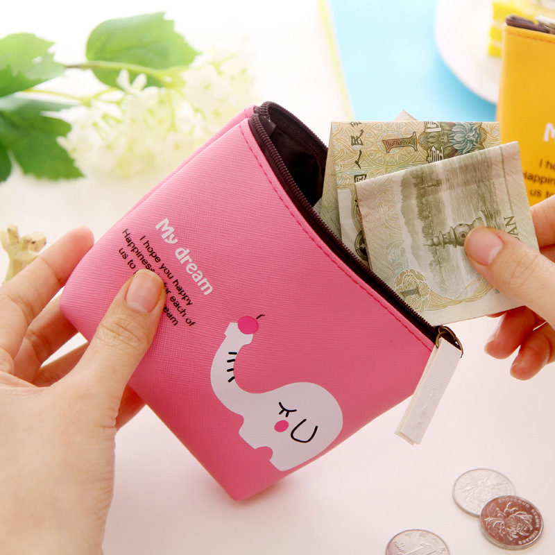 South Korea Creative Wallet Cute PU Leather Cartoon Wallet Animal Paradise White Small Wallet Coin Bag Large Capacity