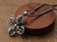 925 Silver color Tibetan Vajra Pendant Necklace Buddhist Dorje Amulet Necklace Pendant Fine Jewelry цена 2017