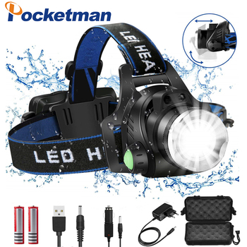 цена на Headlamps 8000lumens Led Headlamp L2/T6 Zoomable Headlight Head Torch Flashlight Head lamp by 18650 battery for Fishing Hunting