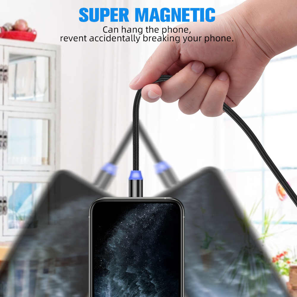 Tkey magnética Micro USB tipo C Cable para iPhone cargador Cable imán Cable 2M USB C para Samsung Xiaomi Huawei iPad Pro