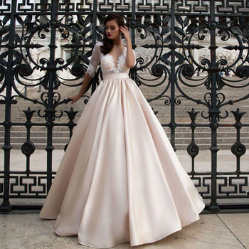New Champagne Satin Ball Gown Wedding Dresses with Pocket Half Sleeve Back illusion Princess Bridal Gowns vestido de noiva lorie half sleeves champagne wedding dresses with pocket elegant satin lace ball gown bridal gowns back illusion bride dress