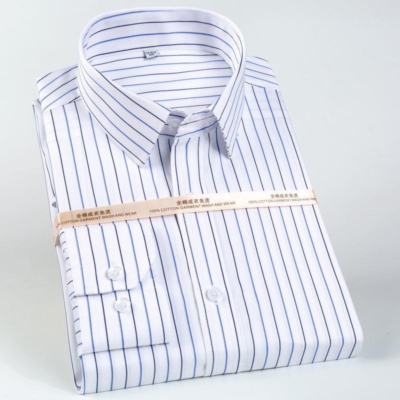 Men's Classic Long Sleeve Non-Iron Striped Shirts Casual Standard-fit Formal Business Work Social 100% Cotton Basic Dress Shirt