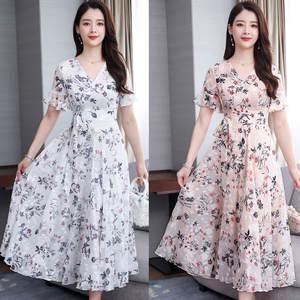 Summer Dress Short-Sleeve Vestidos Holiday Floral-Print Elegant Korean Beach Casual Women