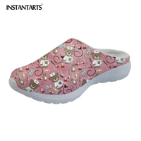 INSTANTARTS Casual Summer Beach Water Sandals Medical Doctor Bear Printed Slip On Slippers for Women Home Nursing Laides Loafers