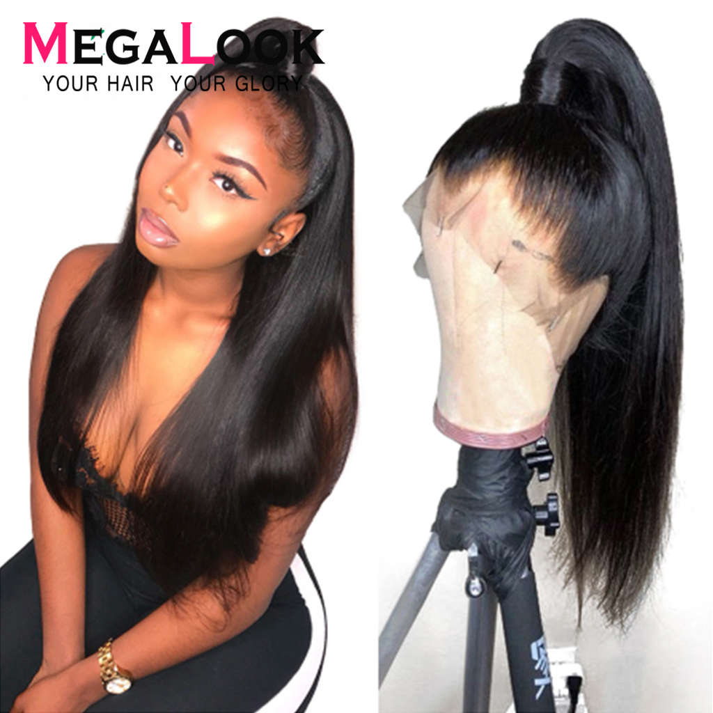 Megalook Straight Lace Front Human Hair Wigs Remy 360 Lace Frontal Wig Pre Plucked With Baby Hair360 Human Hair Wigs Peruvian