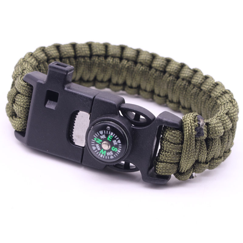 Customizable Outdoor Seven-core Umbrella Rope Woven Whistle Cutter Compass Bracelet Camping Survival Bracelet