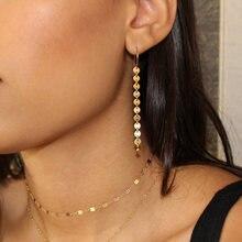 Модные Золотые Длинные круглые серьги с блестками для женщин