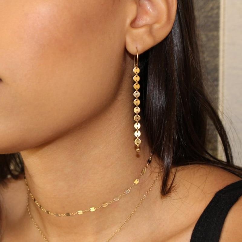 Модные Золотые Длинные круглые серьги с блестками для женщин, висячие серьги с кисточками, ювелирные изделия
