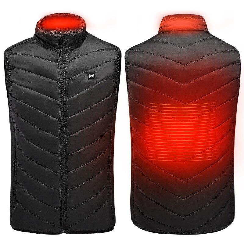 Electric Heated Vest Men Women Heating Waistcoat Thermal Warm Clothing Usb Heated Outdoor Vest Winter Heated JacketJackets   -