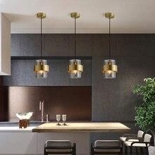 Lampe suspendue circulaire trapézoïdale en cuivre, design post-moderne, en verre doré, luminaire décoratif d'intérieur, idéal pour une chambre à coucher ou un salon